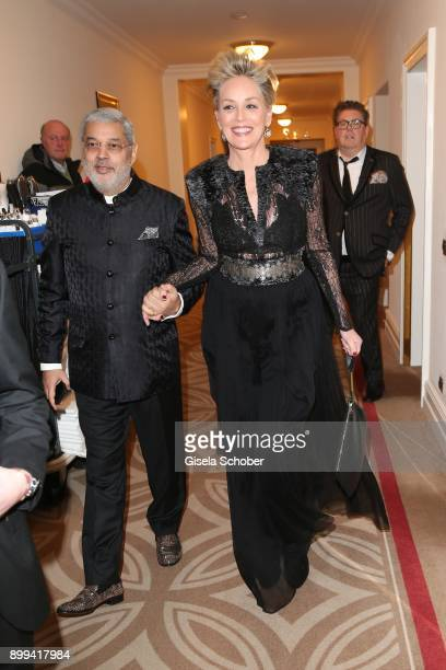Sharon Stone and her partner Tikka Shatrujit Singh Kapurthala during the St Moritz's Soul Charity Gala benefiting 'Planet Hope' foundation at...