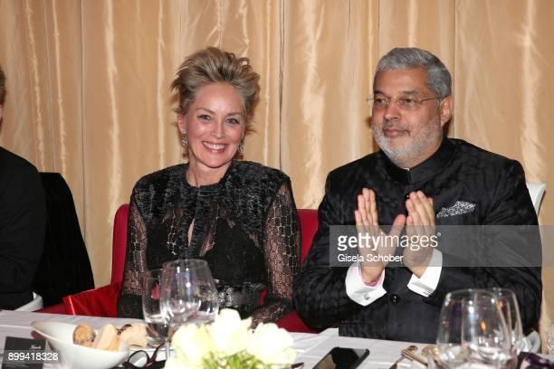 Sharon Stone and her partner Tikka Shatrujit Singh Kapurthala during the charity gala benefiting 'Planet Hope' foundation at Kempinski Grand Hotel...