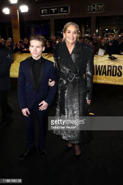 Sharon Stone and her son Roan Bronstein arrive for the 21st GQ Men of the Year Award at Komische Oper on November 07, 2019 in Berlin, Germany.