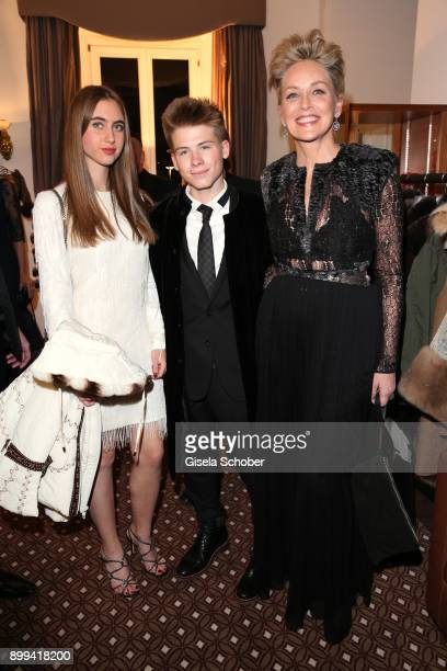 Sharon Stone and her son Roan Joseph Bronstein and Martina Tomasini during the charity gala benefiting 'Planet Hope' foundation at Kempinski Grand...