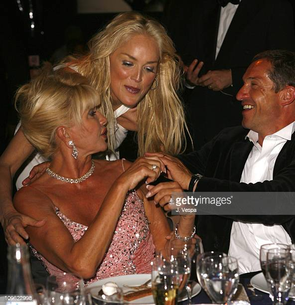 Sharon Stone and Ivana Trump during amfAR's Cinema Against AIDS Benefit in Cannes Presented by Bold Films Palisades Pictures and The Weinstein...