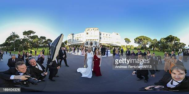 Sharon Stone and Jessica Chastain attend amfAR's 20th Annual Cinema Against AIDS during The 66th Annual Cannes Film Festival at Hotel du CapEdenRoc...