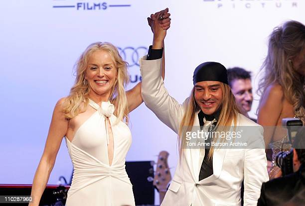 Sharon Stone and John Galliano during amfAR's Cinema Against AIDS Benefit in Cannes, Presented by Bold Films, Palisades Pictures and The Weinstein...