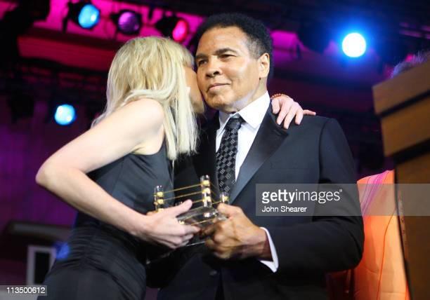 Sharon Stone and Muhammad Ali during Muhammad Ali's Celebrity Fight Night XIII Show at Marriot Desert Ridge Resort Spa in Phoenix Arizona United...