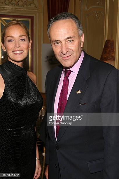 Sharon Stone and Senator Schumer during Harvey Weinstein Hosts a Private Dinner and Screening of Bobby for Senators Obama and Schumer at Plaza...