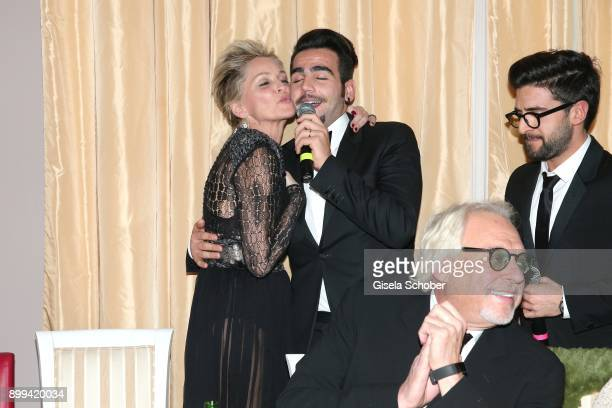 Sharon Stone and singer of Il Volo Ignazio Boschetto during the charity gala benefiting 'Planet Hope' foundation at Kempinski Grand Hotel des Bains...