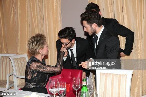 Sharon Stone and singer of Il Volo Piero Barone and Gianluca Ginoble during the charity gala benefiting 'Planet Hope' foundation at Kempinski Grand...