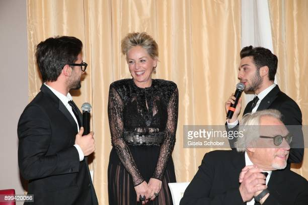 Sharon Stone and singer of Il Volo Piero Barone Gianluca Ginoble during the charity gala benefiting 'Planet Hope' foundation at Kempinski Grand Hotel...