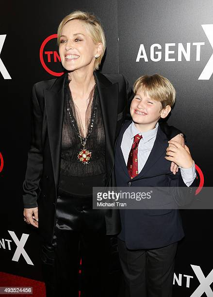 Sharon Stone and son Laird Vonne Stone arrive at the premiere of TNT's Agent X held at The London West Hollywood on October 20 2015 in West Hollywood...