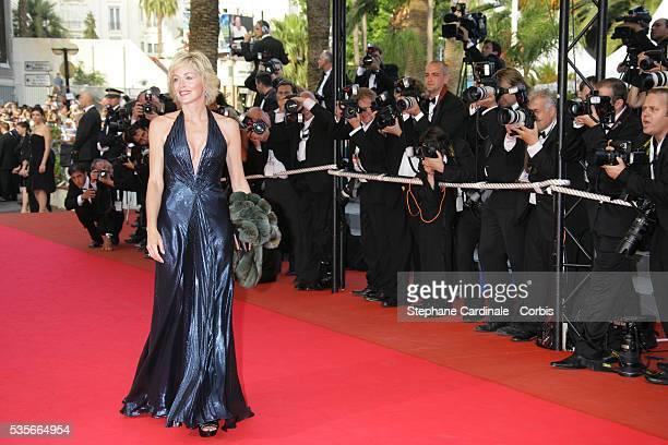 "Sharon Stone arrives at the premiere of ""Le Scaphandre et le Papillon"" during the 60th Cannes Film Festival."