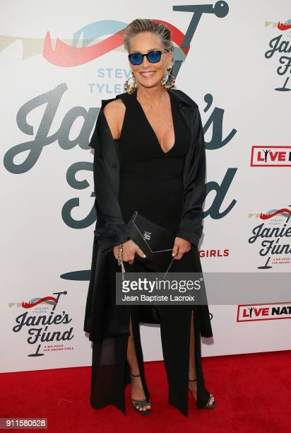 Sharon Stone at Steven Tyler and Live Nation presents Inaugural Janie's Fund Gala GRAMMY Viewing Party at Red Studios on January 28 2018 in Los...