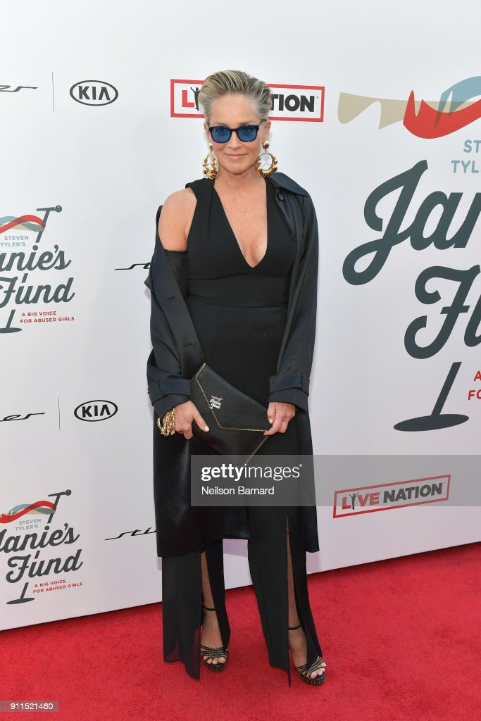 Sharon Stone at Steven Tyler and Live Nation presents Inaugural Gala Benefitting Janie's Fund at Red Studios on January 28, 2018 in Los Angeles, California.