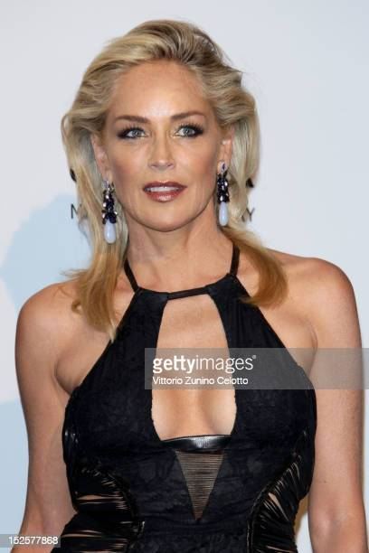 Sharon Stone attends amfAR Milano 2012 during Milan Fashion Week at La Permanente on September 22 2012 in Milan Italy