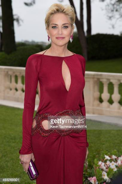 Sharon Stone attends amfAR's 21st Cinema Against AIDS Gala Presented By WORLDVIEW BOLD FILMS And BVLGARI at Hotel du CapEdenRoc on May 22 2014 in Cap...