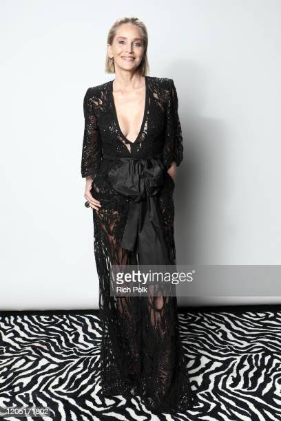 Sharon Stone attends IMDb LIVE Presented By M&M'S At The Elton John AIDS Foundation Academy Awards Viewing Party on February 09, 2020 in Los Angeles,...