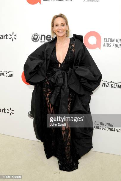 Sharon Stone attends Neuro Brands Presenting Sponsor At The Elton John AIDS Foundation's Academy Awards Viewing Party on February 09, 2020 in West...