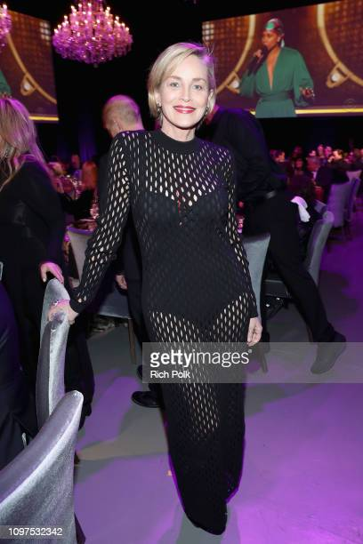 Sharon Stone attends Steven Tyler's Second Annual GRAMMY Awards Viewing Party to benefit Janie's Fund presented by Live Nation at Raleigh Studios on...