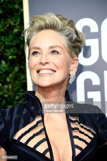 Sharon Stone attends The 75th Annual Golden Globe Awards at The Beverly Hilton Hotel on January 7 2018 in Beverly Hills California