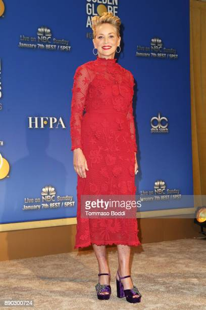Sharon Stone attends the 75th Annual Golden Globe Nominations Announcement on December 11 2017 in Los Angeles California