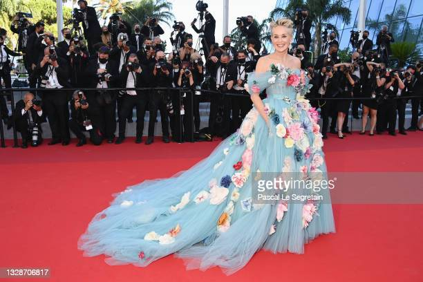 """Sharon Stone attends the """"A Felesegam Tortenete/The Story Of My Wife"""" screening during the 74th annual Cannes Film Festival on July 14, 2021 in..."""
