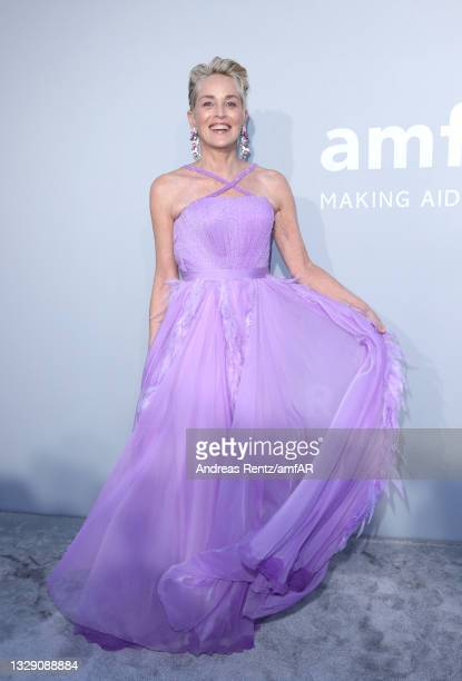 Sharon Stone attends the amfAR Cannes Gala 2021 at Villa Eilenroc on July 16, 2021 in Cap d'Antibes, France.