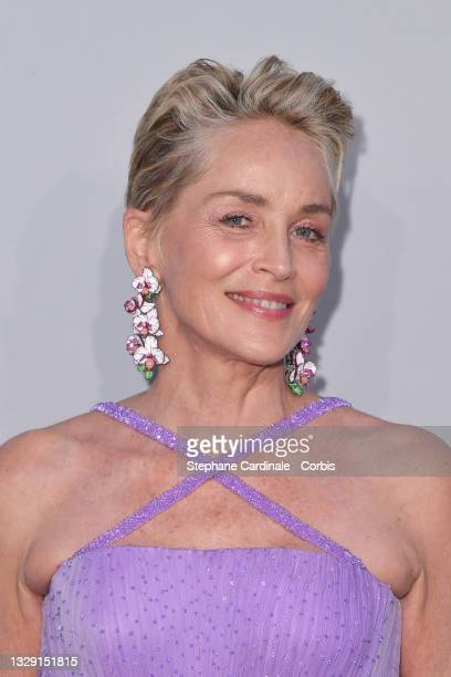 Sharon Stone attends the amfAR Cannes Gala 2021 during the 74th Annual Cannes Film Festival at Villa Eilenroc on July 16, 2021 in Cap d'Antibes,...