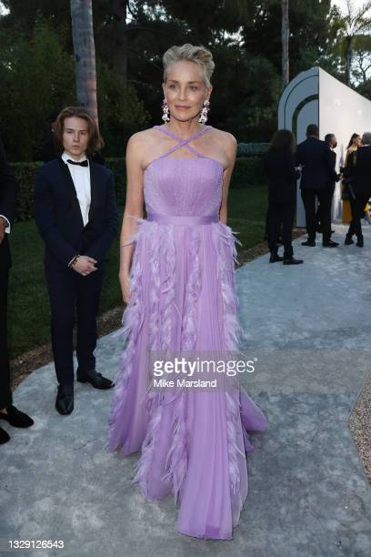 Sharon Stone attends the amfAR Gala 2021 presented by The Red Sea International Film Festival during the 74th annual Cannes Film Festival on July 16,...