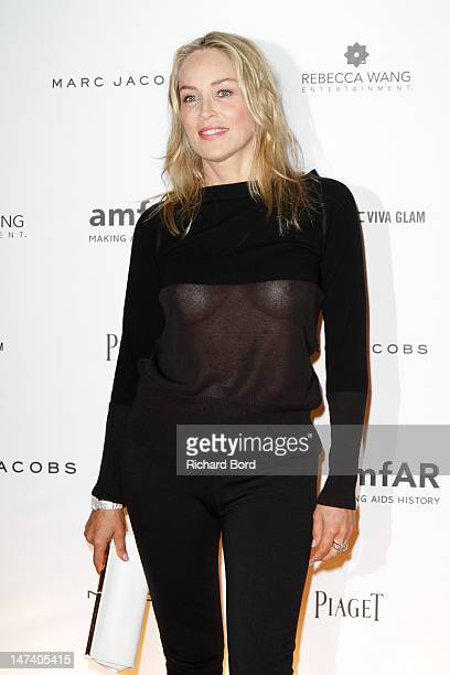 Sharon Stone attends the amfAR Inspiration Night Paris at Maxim's on June 28 2012 in Paris France