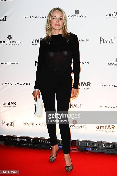 Sharon Stone attends the amfAR Inspiration Night Paris at Maxim's on June 28 2012 in Paris France