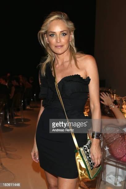 Sharon Stone attends the amfAR Milano 2012 After Party Presented By Fendi'O during Milan Fashion Week at La Permanente on September 22 2012 in Milan...