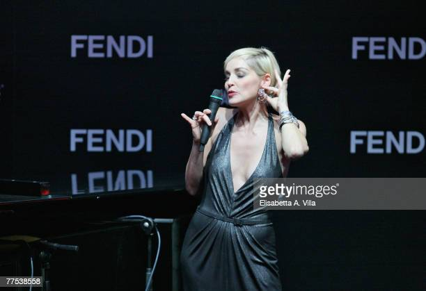 Sharon Stone attends the amfAR's Inaugural Cinema Against AIDS Rome auction held at the Spazio Etoile on October 26 2007 in Rome Italy