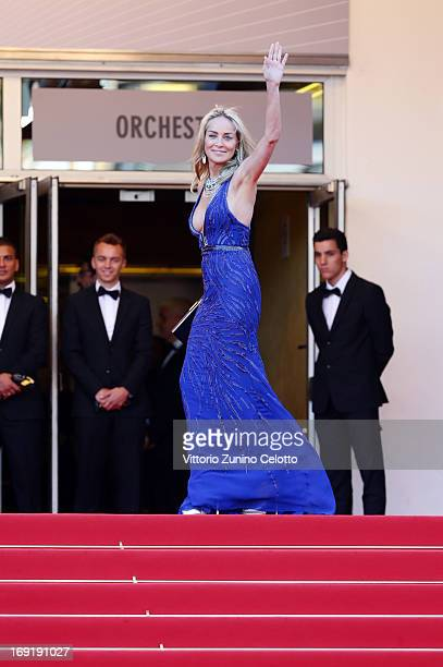 Sharon Stone attends the Behind The Candelabra Premiere during the 66th Annual Cannes Film Festival at Grand Theatre Lumiere on May 21 2013 in Cannes...