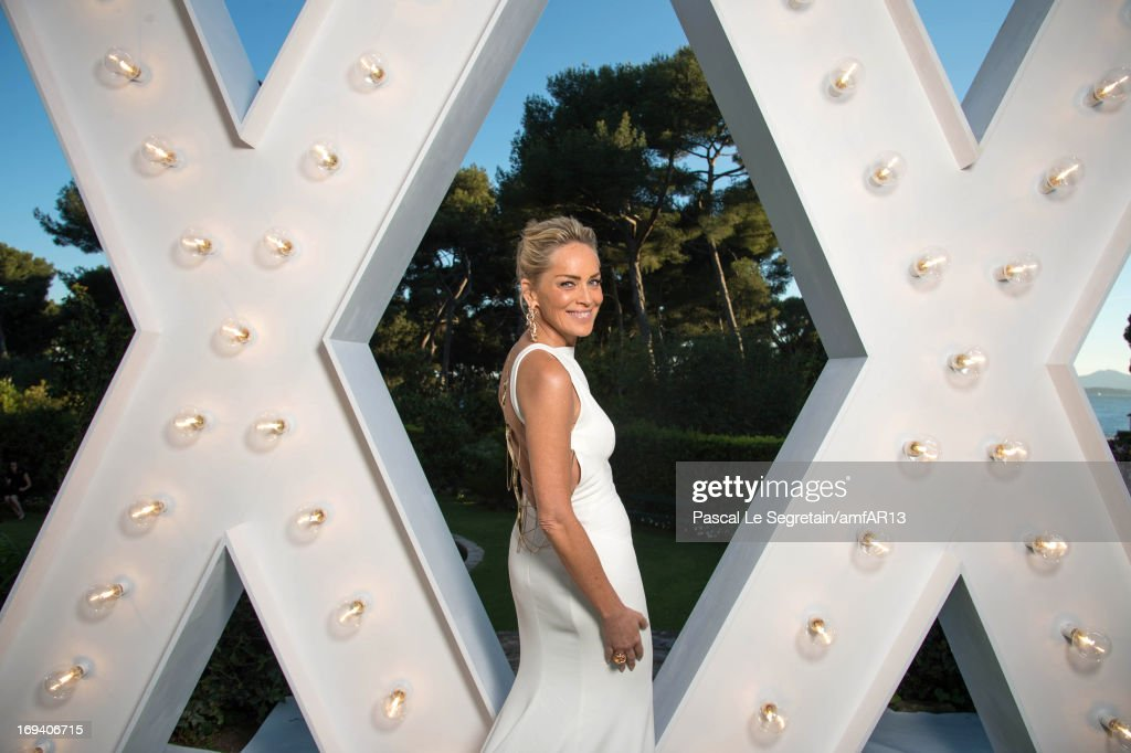 Sharon Stone attends the cocktail party for amfAR's 20th Annual Cinema Against AIDS at Hotel du Cap-Eden-Roc on May 23, 2013 in Cap d'Antibes, France.