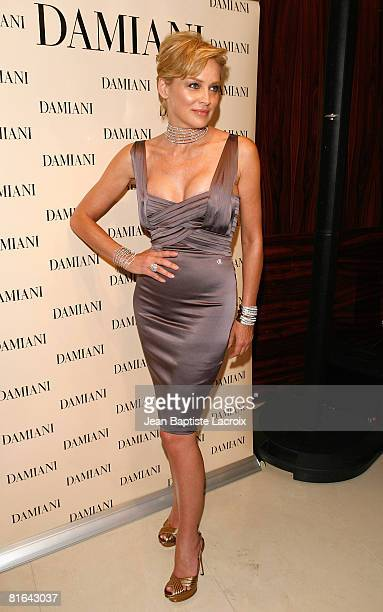 Sharon Stone attends the Damiani and Sharon Stone's press event at the Damiani store on June 19 2008 in Beverly Hills California