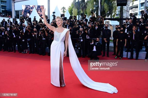 """Sharon Stone attends the final screening of """"OSS 117: From Africa With Love"""" and closing ceremony during the 74th annual Cannes Film Festival on July..."""
