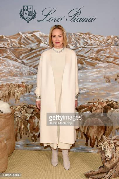"""Sharon Stone attends the New York City Film Premier Of """"Cashmere - The Origin Of A Secret"""" with Loro Piana on October 30, 2019 in New York City."""