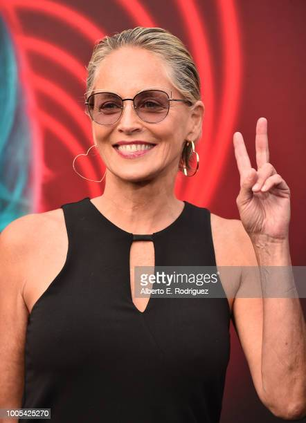 """Sharon Stone attends the Premiere Lionsgate's """"The Spy Who Dumped ME"""" at the Fox Village Theater on July 25, 2018 in Los Angeles, California."""