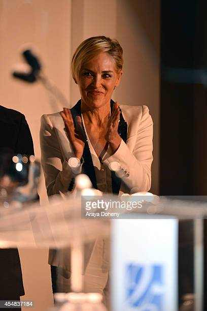 Sharon Stone attends the Project Angel Food's 25th Anniversary Angel Awards 2014 honoring Aileen Getty with the Inaugural Elizabeth Taylor Leadership...