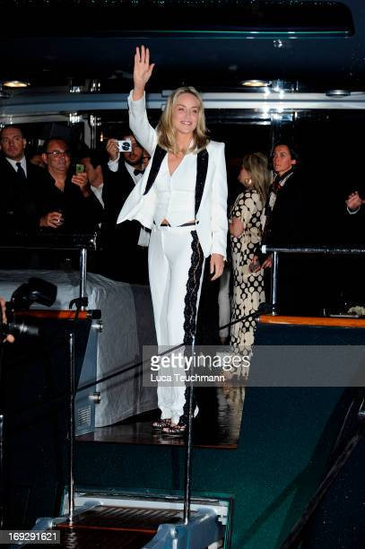 Sharon Stone attends the Roberto Cavalli Yacht Party during The 66th Annual Cannes Film Festival on May 22 2013 in Cannes France