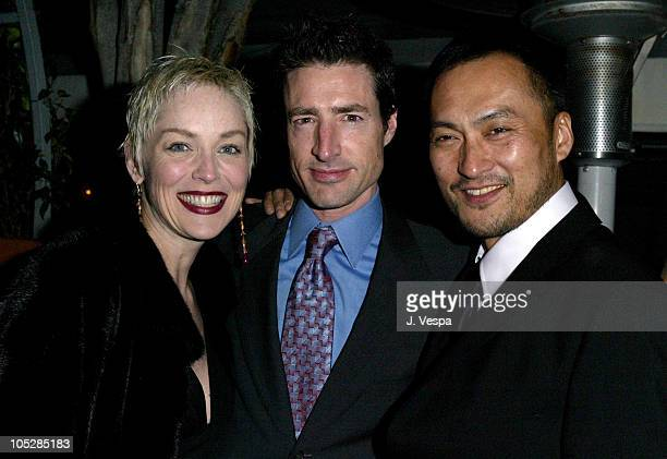 Sharon Stone Benard Cahill and Ken Watanabe during The Last Samurai PreOscar Party with Ken Watanabe at Mondrian Hotel in West Hollywood California...