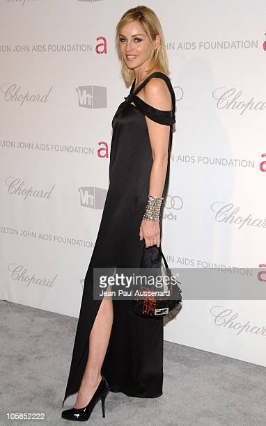 Sharon Stone during 15th Annual Elton John AIDS Foundation Oscar Party Arrivals at Pacific Design Center in West Hollywood California United States