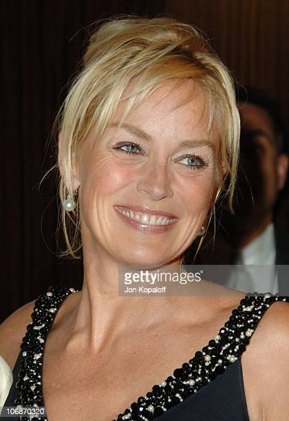 Sharon Stone during 2006 Clive Davis PreGRAMMY Awards Party Arrivals at Beverly Hilton Hotel in Beverly Hills California United States