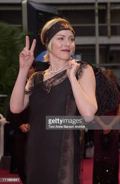 """Sharon Stone during Cannes 2002 - """"Spirit: Stallion of the Cimarron"""" Premiere at Palais des Festivals in Cannes, France."""