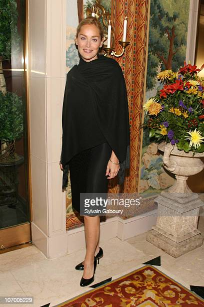 Sharon Stone during Harvey Weinstein Hosts a Private Dinner and Screening of Bobby for Senators Obama and Schumer at Plaza Athenee at 37 East 64th...
