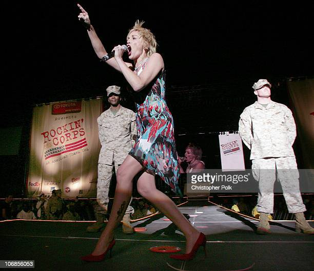 Sharon Stone during Rockin' the Corps Concert An American Thank You Celebration for US Marines Show at Camp Pendelton in San Diego California United...