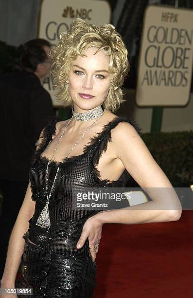 Sharon Stone during The 60th Annual Golden Globe Awards Arrivals at The Beverly Hilton Hotel in Beverly Hills California United States