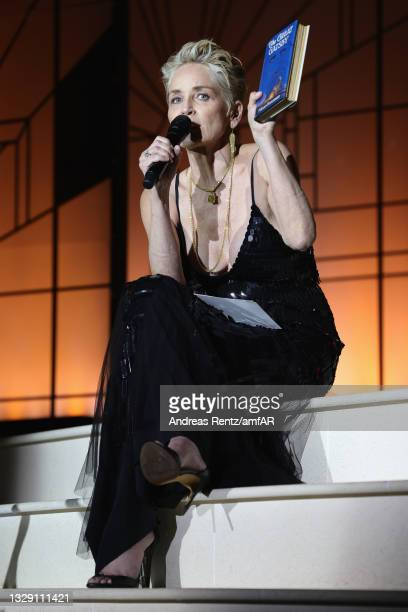 Sharon Stone during the amfAR Cannes Gala 2021 at Villa Eilenroc on July 16, 2021 in Cap d'Antibes, France.