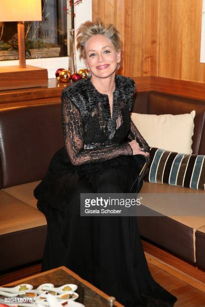 Sharon Stone during the charity gala benefiting 'Planet Hope' foundation at Kempinski Grand Hotel des Bains on December 28 2017 in St Moritz...