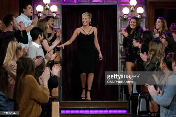 Sharon Stone during The Late Late Show with James Corden Wednesday February 28 2018 On The CBS Television Network