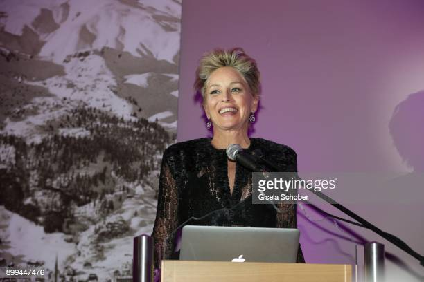 Sharon Stone during the The Charity Gala benefiting 'Planet Hope' foundation at Kempinski Grand Hotel des Bains on December 28 2017 in St Moritz...